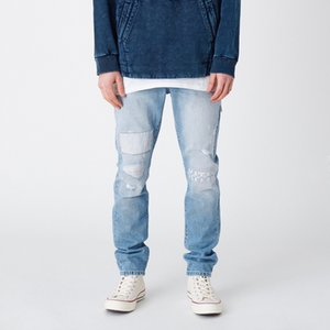 Wholesale 19SS KITH VARICK LETTER DENIM Embroidered Straight Jeans Men Women Couple Fashion Loose Trousers Casual Jeans HFLSKZ129
