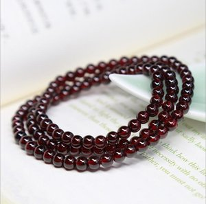 Wholesale Natural wine red garnet bracelet multi turn multi layer female female class A three round hand string