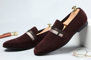Wholesale Fashion Black Deep Brown Summer Nubuck Loafers Shoes Genuine Leather Casual Shoes Mens Outdoor