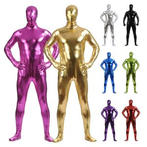 Wholesale 2019 Men Metallic PVC Leather Full Bodysuit Skin Suit Zentai Leotard Cosplay Party Costume Hooded Zentai Shiny Wet Look Jumpsuit