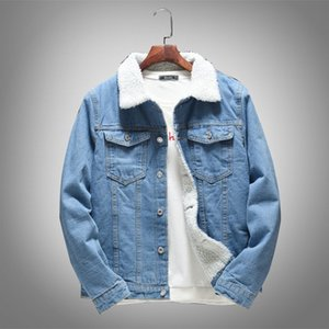 Wholesale Winter Mens Fleece Lining Denim Jacket Slim Fit Korean Outerwear Coat Pockets Light Blue Casual Big Boys Jacket Plus Size M XL