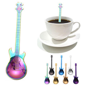 Wholesale New Stainless Steel Cartoon guitar Spoon Creative Milk Coffee Spoon Ice Cream Candy Teaspoon accessories