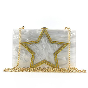 Wholesale ivory wedding purses for sale - Group buy 2020 women acrylic bag gold five star evening clutch bags wedding banquet wallets with chain white purse drop shipping MN1666