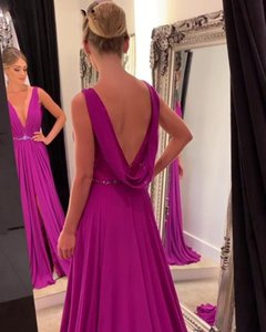Sexy Deep V Neck Evening Gowns Open Back Lace Formal Prom Dress Elegant Chiffon Purple Custom Made Long Party Dresses Vestidos on Sale