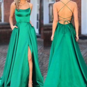 Elegant Green Evening Dresses 2019 Side Slit Sexy Spaghetti Straps Long Prom Gowns Backless Party Prom Pageant Gowns Sweep Train on Sale