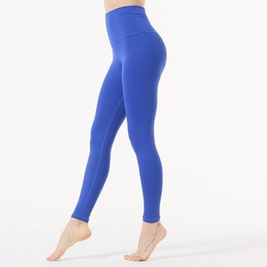 Wholesale Sexy Blue Yoga Leggings Women Black High Waist Foot Yoga Pants Workout Fitness Feminino Athletic Leggings Solid Running Trousers