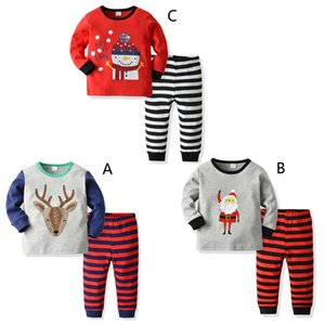 Wholesale Boys Girls Christmas Pajamas Children new year Cartoon Santa Claus Elk long sleeve tops stripe Pants sets kids Suits clothes B1