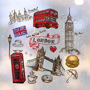 Wholesale removable car stickers for sale - Group buy Love Heart Tower Bus Car UK Hamburger England Landmark Flag Mark Removable Wall Sticker City Buildings Art Decals Mural DIY Wallpaper