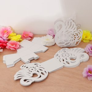 Wholesale 12pcs Elegant Hollow Out Swan Shape Candy Box Gift Boxes Wedding Birthday Party Favors