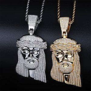 Wholesale Hip Hop CZ Zircon Stone Paved Bling Iced Out Big JESUS Piece Pendants Necklace for Men Rapper Jewelry Gold Silver Necklace