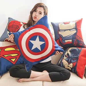 Wholesale New The Avengers Pillow Case Cartoon Pillow Case Superman Batman Wade Printed Cushion Cover Cotton Linen Pillow Cover Xmas Gift WX P25