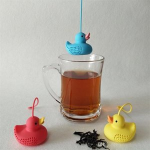 Wholesale Little Duck Tea Infuser Yellow Red Blue Color Duck Tea Bag CM Mini Tea Strainer With Rope