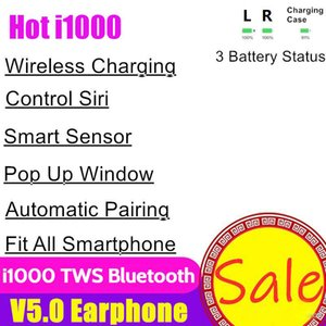 Wholesale i1000 TWS Wireless Bluetooth Headphones Touch Earbuds Earphone Charging Headset Pop Up Window Earbuds Smart Sensor For Phone H1 W1 Chip