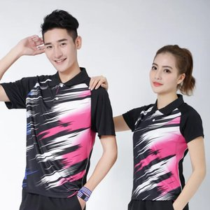 Wholesale Sportswear Quick Dry breathable badminton shirt,Women Men black blue table tennis clothes team game training golf T Shirts