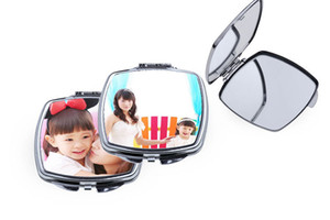 Sublimation Portable Makeup Mirror Transfer Consumable Blank with Aluminum Heart-shaped Mirror Photo Customization DIY Creative Gift A07