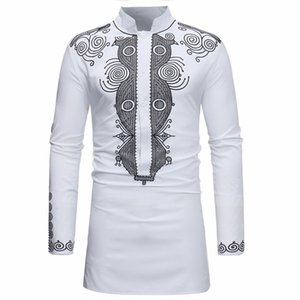 Wholesale 2019 African Dresses for Men Dashiki Rich Bazin Print Long Sleeve Robes Shirt Traditional Africa Dress Maxi Fashion Clothes