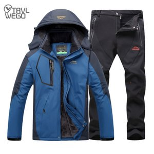 Wholesale TRVLWEGO Outdoor Ski Suit Men's Windproof Waterproof Thermal Snowboard Snow Skiing Jacket And Pants sets Winter Sports Clothes T190920