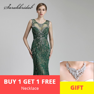Wholesale Luxury Long Evening Dresses Sexy Sheer Back Mermaid O Neck Beaded Crystals Women Formal Celebrity Gowns Real Photos