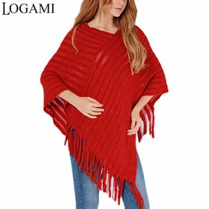 Wholesale LOGAMI Women Cape Coat Elegant Long Knitting Ponchos Irregular Stripes Tassel Sweaters And Pullovers White Khaki Red Black Beige