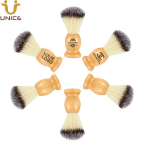 Wholesale MOQ OEM Customized LOGO Beard Shaving Brush Barber Razor Beard Brush Wooden Handle Nylon Bristle Mens Facial Cleaning Brushes