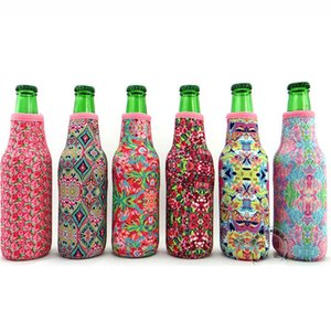 Wholesale Blanks Lilly Bottle Wrap Neoprene Beer Cooler Crown Jewel Coral Rose Mucho Printing Can Cover
