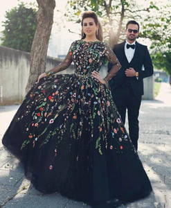 Wholesale New Plus Size Evening Dresses Floral Embroidery Illusion Long Sleeves Prom Dress Long Sexy Deep Back Formal Party Gowns Vestidos De Festa W4