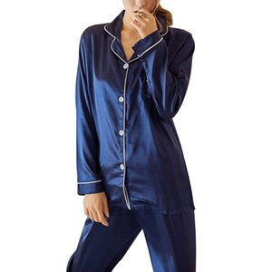 2 piece Solid Pajamas Women Sleepwear Sets Casual Soft Long Sleeve Button Pocket Sleepwear Suit Spring Homewear Long Pants Suits