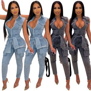 Wholesale New Autumn Women Denim Jumpsuits Sleeves Lace up Design Deep v Neck Sleeveless Zipper Fashion Pencil Jeans Women Girls Sexy Pockets Pants