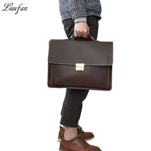 Wholesale Men s Genuine Leather briefcase with dial lock inch Vintage Business bag Cowhide Laptop Handbag Mens Work tote fast post