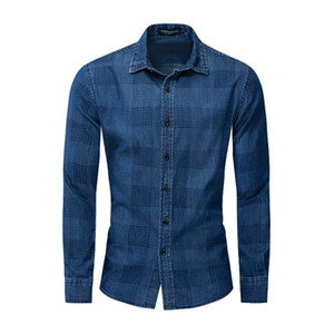 Wholesale Mens Hot Sale Four Seasons Large Size Long Sleeve Denim Shirt Thickened Lapel Plaid Shirt men dress shirts