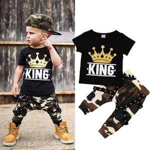 Wholesale baby clothes newborns resale online - Newborn Kids Baby Boys Tops T shirt Camo Pants Outfits Set Clothes Years