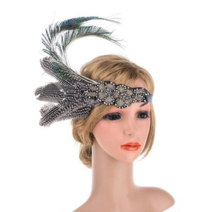 Wholesale Feathers Silver Beaded Flapper Headband s Girls Feather Flapper Hair Band Wedding Hair Accessories for Bride