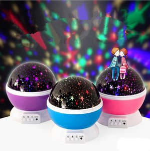 Wholesale DHL Star Master Rotation LED Grow Night Light up Moon Star Projector Rotation Night with USB for Children Kids Bedroom Christmas Gifts