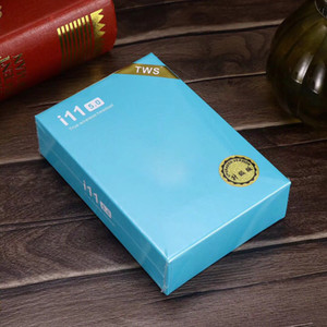 Wholesale i11 TWS Wireless Bluetooth Headphones support pop up windows Earbuds with Charging Box Twins Mini Earbuds i11 touch SIRI blue box