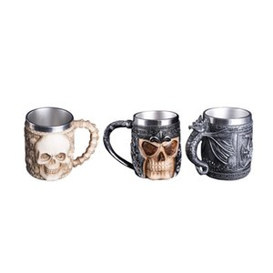 Wholesale Halloween Stainless Steel Beer Mug Retro Dragon Resin Skull Knight Tankard Coffee Cup Creative Viking Mug Pub Bar Decoration