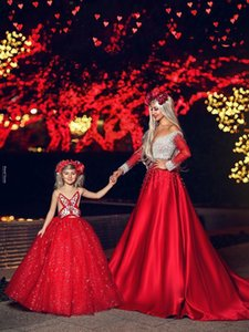 Wholesale Luxury Red Evening Dresses Full Pearls Off Shoulder Long Sleeves Satin A-Line Sweep Train Prom Gowns Formal Party Maix Dress