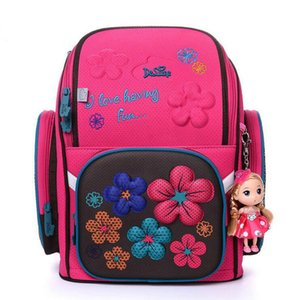 Delune Brand Orthopedic Backpack For Girls Boys School Bags 3D Cute Child Owl Bear Flower Pattern Waterproof Children Schoolbag
