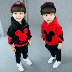 Wholesale 2 Yrs Winter New Baby Boy Girls Thick Mickey Gold Velvet Suit Children Kids Long sleeved Warm Hooded Sweater Pants Sets Suits Y190518