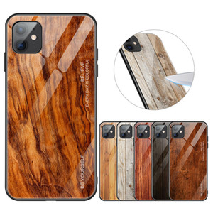 Wholesale slim glasses case for sale - Group buy For iPhone pro max XS Tempered glass case for iphone Luxury Wood Grain Soft TPU Edge Slim Glass Back Case Cover