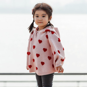 Ins Baby Girls Cloak Sweater Heart Hooded Knitted Poncho Sweater Children Girl Sweaters W418