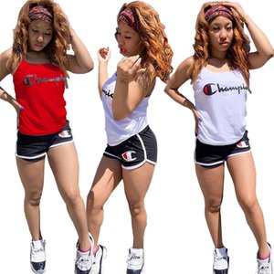 Women Designer Tracksuits Champion Brand Vest Shorts Outfit Sleeveless Spaghetti Strap Vest Tshirt+Sports Shorts Suit Sportswear C52303 on Sale