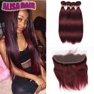 Grade 7A Wholesale 4 Bundles lot Color Burgundy Straight Malaysian Hair Extensions 99J Red Wine Straight Human Hair Weave Deals With Frontal