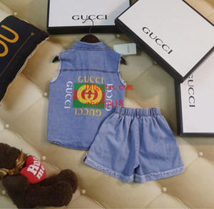 2019 kids designer clothes boys tracksuits unisex suit Denim sleeveless print short sleeve+shorts 2pcs suit baby boy girl Clothes AB-5 on Sale