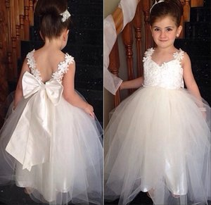 Wholesale Wedding Flower Girl Dress Toddler Girl Dresses with Lace Applique Big Bow Lace Bridesmaid Girls Communion Party Prom Dresses