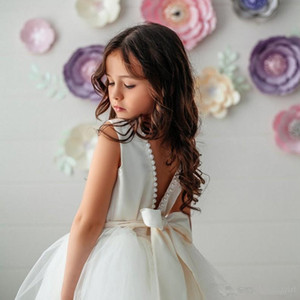 Wholesale White Ball Gown Flower Girl Dresses Sheer Neck Lace kid wedding dresses pakistani Cute Lace Toddler girls pageant dresses