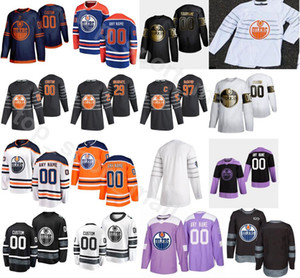 orange 18 jersey großhandel-2020 All Star Edmonton Oilers Eishockey Connor McDavid Trikots Herren Leon Draisaitl James Neal Oscar Klefbom Orange Blue