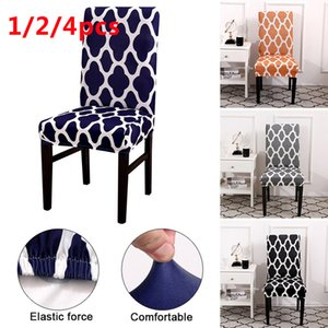 1 2 4pcs Chair Cover Spandex Stretch Elastic Slipcovers Printed Seat Chair Covers For Dining Room Kitchen Wedding Banquet Hotel