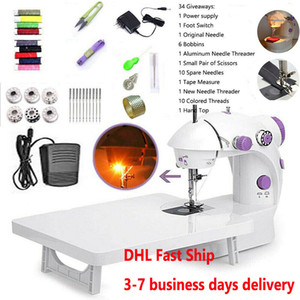 US Ship Electric Sewing Machine With Pedal Household Handheld Mini Magic Stitch Machine Single Thread Night Light Speed Adjustable