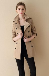 NEW! women fashion brand style double breasted short trench coat top quality belted slim fit cotton trench for women size S-XXL B6804F270