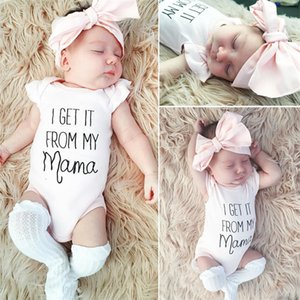 Wholesale summer jumpsuit for kids girls for sale - Group buy 70 cm Girl Clothes Summer Baby Romper Jumpsuits Short Sleeve Coveralls Pink Bow Headband Two Piece Set Children Bodysuit For Kids E3302
